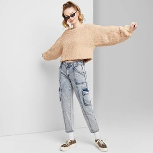 Wild Fable acid wash cargo jeans ankle length 0/25